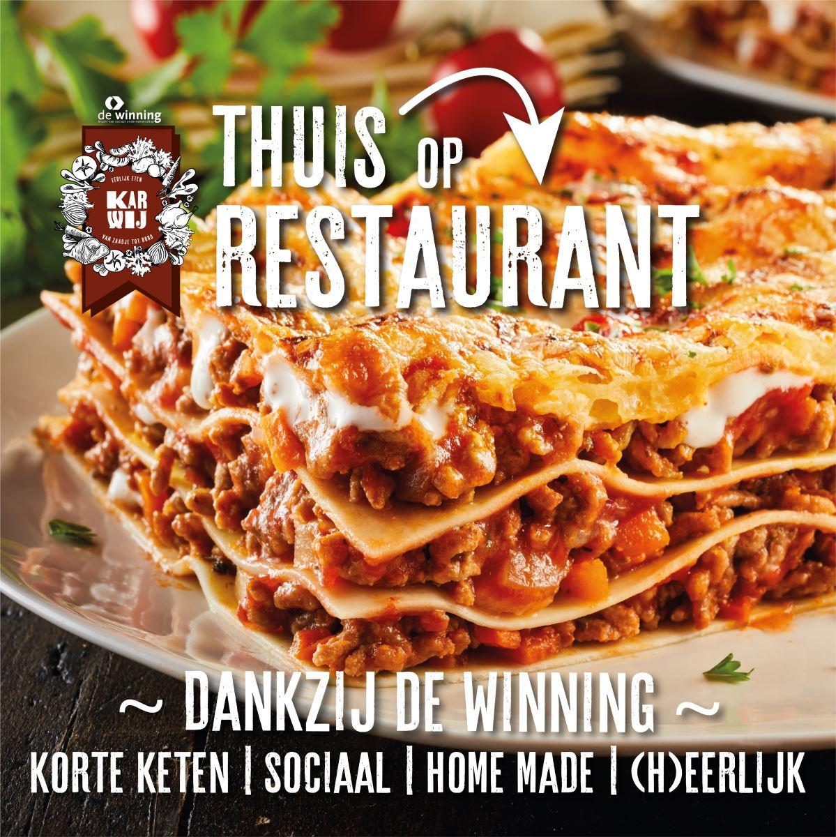 Afbeelding met tekst, voedsel, pasta, schotelAutomatisch gegenereerde beschrijving